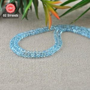 Shop Aquamarine Rondelle Beads! Natural Aquamarine 4-6.5mm Smooth Rondelle Shape Gemstone Beads / Approx 260 Pieces On 2 Strands Of 16 Inch Length / Jbc-et-156755 | Natural genuine rondelle Aquamarine beads for beading and jewelry making.  #jewelry #beads #beadedjewelry #diyjewelry #jewelrymaking #beadstore #beading #affiliate #ad