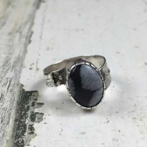Shop Snowflake Obsidian Rings! Artisan Made Sterling Silver Snowflake Obsidian Ring 7.5 Free Shipping | Natural genuine Snowflake Obsidian rings, simple unique handcrafted gemstone rings. #rings #jewelry #shopping #gift #handmade #fashion #style #affiliate #ad
