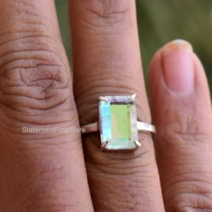 Shop Angel Aura Quartz Rings! Aura Quartz Ring, 925 Solid Sterling Silver Ring, Antique Cut Angel Aura Quartz Gemstone Silver Ring, Yellow Gold Plated Ring, Women Ring   Natural genuine Angel Aura Quartz rings, simple unique handcrafted gemstone rings. #rings #jewelry #shopping #gift #handmade #fashion #style #affiliate #ad