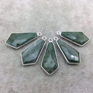 Shop Aventurine Faceted Beads! Silver Finish Faceted Green Aventurine Dagger Shape Bezel – Plated Copper Pendant Component ~ 12mm x 25mm – Sold Individually | Natural genuine faceted Aventurine beads for beading and jewelry making.  #jewelry #beads #beadedjewelry #diyjewelry #jewelrymaking #beadstore #beading #affiliate #ad