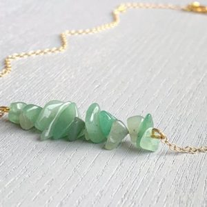 Shop Aventurine Necklaces! Aventurine Necklace, Dainty Crystal Necklace, Aventurine Jewelry, Crystal Bar Necklace, Green Aventurine Gold Necklace, Crystal Healing Gift | Natural genuine Aventurine necklaces. Buy crystal jewelry, handmade handcrafted artisan jewelry for women.  Unique handmade gift ideas. #jewelry #beadednecklaces #beadedjewelry #gift #shopping #handmadejewelry #fashion #style #product #necklaces #affiliate #ad