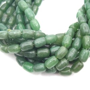 "14mm Smooth Natural Green Aventurine Tube Shaped Beads – (Approx. 15.5"" ~28 Beads) 