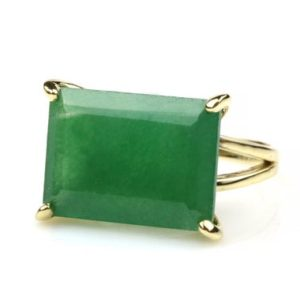 Shop Aventurine Rings! Green aventurine ring,rectangle ring,prong setting ring,classic ring,vintage ring,green stone ring,gemstone rings for women,big gem ring | Natural genuine Aventurine rings, simple unique handcrafted gemstone rings. #rings #jewelry #shopping #gift #handmade #fashion #style #affiliate #ad