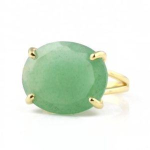 Shop Aventurine Rings! Natural Aventurine Ring · Green Aventurine Oval Ring · Gold Gemstone Ring · Statement Ring For Mom · Birthday Cocktail Ring | Natural genuine Aventurine rings, simple unique handcrafted gemstone rings. #rings #jewelry #shopping #gift #handmade #fashion #style #affiliate #ad