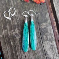 Long Teardrop Azurite Malachite Earrings. Sterling Silver Malachite Earrings | Natural genuine Gemstone jewelry. Buy crystal jewelry, handmade handcrafted artisan jewelry for women.  Unique handmade gift ideas. #jewelry #beadedjewelry #beadedjewelry #gift #shopping #handmadejewelry #fashion #style #product #jewelry #affiliate #ad
