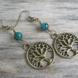 Shop Azurite Jewelry! Tree of Life Earrings, Azurite Malachite Earrings, Nature Jewelry, Woodland Earrings, Boho Earrings, Blue Green & Bronze | Natural genuine Azurite jewelry. Buy crystal jewelry, handmade handcrafted artisan jewelry for women.  Unique handmade gift ideas. #jewelry #beadedjewelry #beadedjewelry #gift #shopping #handmadejewelry #fashion #style #product #jewelry #affiliate #ad
