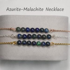 Shop Azurite Necklaces! Azurite Necklace, Natural Azurite-Malachite Necklace for Women, Minimalist Necklace, Dainty Necklace, Chakra Protection Necklace | Natural genuine Azurite necklaces. Buy crystal jewelry, handmade handcrafted artisan jewelry for women.  Unique handmade gift ideas. #jewelry #beadednecklaces #beadedjewelry #gift #shopping #handmadejewelry #fashion #style #product #necklaces #affiliate #ad