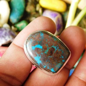 Shop Azurite Rings! Designer Azurite Gemstone Ring, Statement Stone Ring, Natural Azurite Ring, Sterling Silver Ring,Azurite Ring,(R-237) | Natural genuine Azurite rings, simple unique handcrafted gemstone rings. #rings #jewelry #shopping #gift #handmade #fashion #style #affiliate #ad