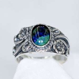 Azurite/Malachite Ring, Genuine Cabochon Gemstone 8x6mm Ring, Set in 925 Sterling Silver Antiqued Southwestern Ring | Natural genuine Azurite rings, simple unique handcrafted gemstone rings. #rings #jewelry #shopping #gift #handmade #fashion #style #affiliate #ad