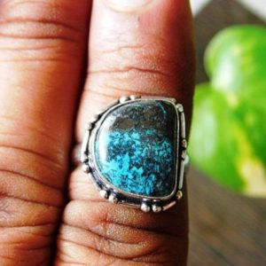 Shop Azurite Rings! Natural Azurite Ring, Statement Stone Ring, Crystal Ring, Sterling Silver Ring, Azurite Gemstone Ring,Loose gemstone ring,(R-415) | Natural genuine Azurite rings, simple unique handcrafted gemstone rings. #rings #jewelry #shopping #gift #handmade #fashion #style #affiliate #ad