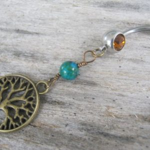 Tree of Life Belly Ring, BRONZE Belly Button Ring, Azurite & Malachite, Birthstone Navel Piercing, Nature Body Jewelry, Tree Navel Ring | Natural genuine Azurite rings, simple unique handcrafted gemstone rings. #rings #jewelry #shopping #gift #handmade #fashion #style #affiliate #ad