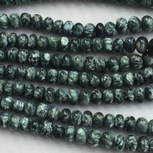 """Shop Seraphinite Beads! Bead Seraphinite Green Plain Rondelle (bati) 5 to 10mm 8"""" length each ,designer quality AAA grade, limited edition 