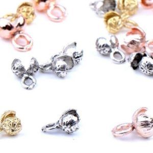 Shop Bead Tips & Knot Covers! Bead tip metal knot closing device, necklace end, bracelet ends, 5 psc, choose colour | Shop jewelry making and beading supplies, tools & findings for DIY jewelry making and crafts. #jewelrymaking #diyjewelry #jewelrycrafts #jewelrysupplies #beading #affiliate #ad