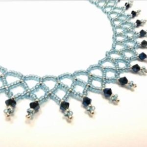 Shop Jewelry Making Tutorials! Beaded Netted collar beading pattern using Swarovski beading tutorials | Shop jewelry making and beading supplies, tools & findings for DIY jewelry making and crafts. #jewelrymaking #diyjewelry #jewelrycrafts #jewelrysupplies #beading #affiliate #ad