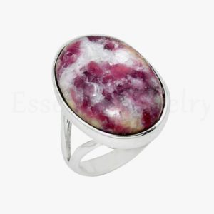 Shop Lepidolite Rings! Beautiful Thulite Ring, Oval Gemstone, Handmade Ring, Women's Jewelry, Split Band Ring, Affordable Ring, Boho Jewelry, Silver Gift, Sale | Natural genuine Lepidolite rings, simple unique handcrafted gemstone rings. #rings #jewelry #shopping #gift #handmade #fashion #style #affiliate #ad