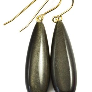 Shop Rainbow Obsidian Jewelry! Black Obsidian Earrings Long Smooth Drop Sterling Silver or 14k Gold Filled or Solid 14k Gold Real Natural Simple Puffed Teardrops Shimmery | Natural genuine Rainbow Obsidian jewelry. Buy crystal jewelry, handmade handcrafted artisan jewelry for women.  Unique handmade gift ideas. #jewelry #beadedjewelry #beadedjewelry #gift #shopping #handmadejewelry #fashion #style #product #jewelry #affiliate #ad