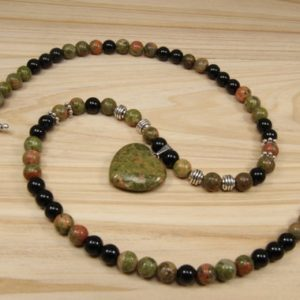 Shop Unakite Necklaces! Mothers day gift-black onyx necklace-unakite necklace for women-handmade jewelry-gifts for women-heart pendant necklace-mom birthday gift | Natural genuine Unakite necklaces. Buy crystal jewelry, handmade handcrafted artisan jewelry for women.  Unique handmade gift ideas. #jewelry #beadednecklaces #beadedjewelry #gift #shopping #handmadejewelry #fashion #style #product #necklaces #affiliate #ad