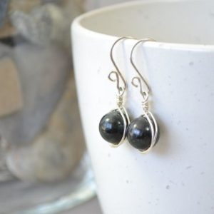 Shop Seraphinite Earrings! Black Seraphinite Gemstone Earrings, Sterling Silver Gemstone Earrings | Natural genuine Seraphinite earrings. Buy crystal jewelry, handmade handcrafted artisan jewelry for women.  Unique handmade gift ideas. #jewelry #beadedearrings #beadedjewelry #gift #shopping #handmadejewelry #fashion #style #product #earrings #affiliate #ad