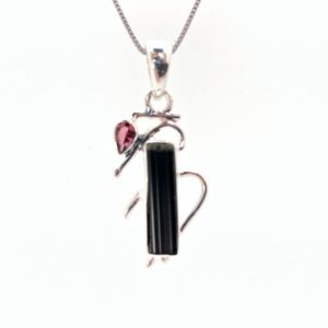 Shop Black Tourmaline Pendants! Black Tourmaline Pendant // Pink and Black Tourmaline Pendant // Tourmaline Pendant // 925 Sterling Silver | Natural genuine Black Tourmaline pendants. Buy crystal jewelry, handmade handcrafted artisan jewelry for women.  Unique handmade gift ideas. #jewelry #beadedpendants #beadedjewelry #gift #shopping #handmadejewelry #fashion #style #product #pendants #affiliate #ad
