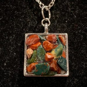Shop Bloodstone Necklaces! Bloodstone, and jasper stone, silver, square, necklace | Natural genuine Bloodstone necklaces. Buy crystal jewelry, handmade handcrafted artisan jewelry for women.  Unique handmade gift ideas. #jewelry #beadednecklaces #beadedjewelry #gift #shopping #handmadejewelry #fashion #style #product #necklaces #affiliate #ad