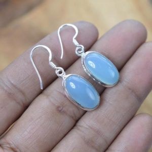 Shop Blue Chalcedony Earrings! Blue Chalcedony 925 Sterling Silver Hook Earring | Natural genuine Blue Chalcedony earrings. Buy crystal jewelry, handmade handcrafted artisan jewelry for women.  Unique handmade gift ideas. #jewelry #beadedearrings #beadedjewelry #gift #shopping #handmadejewelry #fashion #style #product #earrings #affiliate #ad