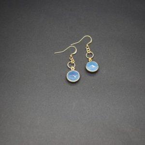 Shop Blue Chalcedony Earrings! Blue Chalcedony Drop Earrings (gold Plated) | Natural genuine Blue Chalcedony earrings. Buy crystal jewelry, handmade handcrafted artisan jewelry for women.  Unique handmade gift ideas. #jewelry #beadedearrings #beadedjewelry #gift #shopping #handmadejewelry #fashion #style #product #earrings #affiliate #ad