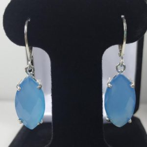 Shop Blue Chalcedony Earrings! Genuine 13ct Marquise Cut Turquoise Blue Chalcedony Earrings Sterling Silver Leverback Dangle Trending Jewelry Gifts Mom Wife Bride Bridal | Natural genuine Blue Chalcedony earrings. Buy handcrafted artisan wedding jewelry.  Unique handmade bridal jewelry gift ideas. #jewelry #beadedearrings #gift #crystaljewelry #shopping #handmadejewelry #wedding #bridal #earrings #affiliate #ad