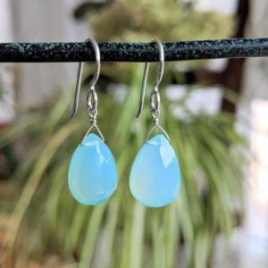 Shop Blue Chalcedony Earrings! Blue Chalcedony Earrings, Genuine Gemstone Dangle Light Blue Earrings, Silver Jewelry, Birthday Gifts for Her | Natural genuine Blue Chalcedony earrings. Buy crystal jewelry, handmade handcrafted artisan jewelry for women.  Unique handmade gift ideas. #jewelry #beadedearrings #beadedjewelry #gift #shopping #handmadejewelry #fashion #style #product #earrings #affiliate #ad