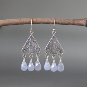 Shop Blue Chalcedony Earrings! Blue Chalcedony Earrings – Silver Chandelier Earrings – Silver Filigree Earrings – Bali Silver Earrings | Natural genuine Blue Chalcedony earrings. Buy crystal jewelry, handmade handcrafted artisan jewelry for women.  Unique handmade gift ideas. #jewelry #beadedearrings #beadedjewelry #gift #shopping #handmadejewelry #fashion #style #product #earrings #affiliate #ad