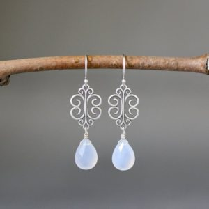 Shop Blue Chalcedony Earrings! Blue Chalcedony Earrings – Silver Filigree Earrings – Silver Dangle Earrings – Bali Silver Earrings | Natural genuine Blue Chalcedony earrings. Buy crystal jewelry, handmade handcrafted artisan jewelry for women.  Unique handmade gift ideas. #jewelry #beadedearrings #beadedjewelry #gift #shopping #handmadejewelry #fashion #style #product #earrings #affiliate #ad