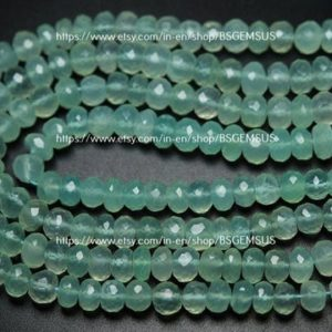 Shop Blue Chalcedony Beads! 8 Inches Strand,Aqua Blue Chalcedony Faceted Rondelles Beads,Size 11-12mm | Natural genuine faceted Blue Chalcedony beads for beading and jewelry making.  #jewelry #beads #beadedjewelry #diyjewelry #jewelrymaking #beadstore #beading #affiliate #ad