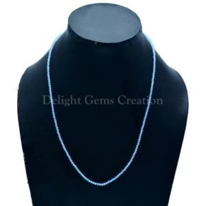 Shop Blue Chalcedony Necklaces! Blue Chalcedony 2.5mm Micro Faceted Beads Necklace, Blue Chalcedony Stone Tiny Beads Necklace, Women's Necklace, Gift For Her | Natural genuine Blue Chalcedony necklaces. Buy crystal jewelry, handmade handcrafted artisan jewelry for women.  Unique handmade gift ideas. #jewelry #beadednecklaces #beadedjewelry #gift #shopping #handmadejewelry #fashion #style #product #necklaces #affiliate #ad