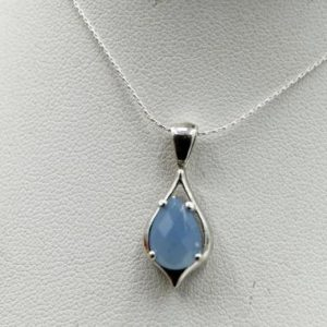 Shop Blue Chalcedony Pendants! Blue Chalcedony Pendant, Genuine Gemstone 10x7mm Pear Checkboard Cut, 925 Sterling Silver Pendant Mount, 18inch Chain Included | Natural genuine Blue Chalcedony pendants. Buy crystal jewelry, handmade handcrafted artisan jewelry for women.  Unique handmade gift ideas. #jewelry #beadedpendants #beadedjewelry #gift #shopping #handmadejewelry #fashion #style #product #pendants #affiliate #ad