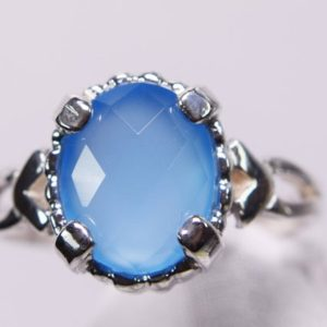 Shop Blue Chalcedony Rings! Blue Chalcedony Ring, 10x8mm Oval Genuine Gemstone, Checkerboard Cut, Set in 925 Sterling Silver Solitaire Ring | Natural genuine Blue Chalcedony rings, simple unique handcrafted gemstone rings. #rings #jewelry #shopping #gift #handmade #fashion #style #affiliate #ad