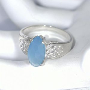 Shop Blue Chalcedony Rings! Blue Chalcedony Ring, Genuine Gemstone 12×6 mm Checkerboard Cut Marquise Cabochon, Set in 925 Sterling Scroll Ring | Natural genuine Blue Chalcedony rings, simple unique handcrafted gemstone rings. #rings #jewelry #shopping #gift #handmade #fashion #style #affiliate #ad