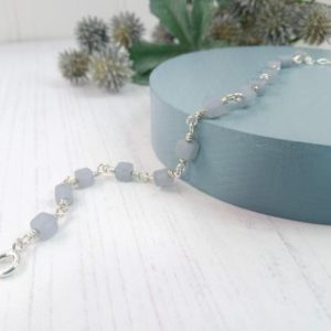 Shop Angelite Bracelets! Angelite Bracelet, Sterling Silver and Cube Bead Bracelet | Natural genuine Angelite bracelets. Buy crystal jewelry, handmade handcrafted artisan jewelry for women.  Unique handmade gift ideas. #jewelry #beadedbracelets #beadedjewelry #gift #shopping #handmadejewelry #fashion #style #product #bracelets #affiliate #ad