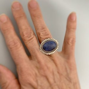 Shop Dumortierite Rings! Blue Dumortierite and Silver Ring | Natural genuine Dumortierite rings, simple unique handcrafted gemstone rings. #rings #jewelry #shopping #gift #handmade #fashion #style #affiliate #ad