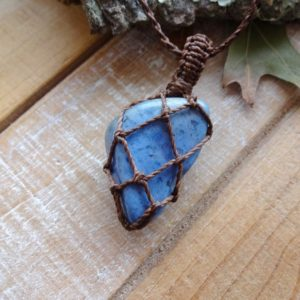 Blue Dumortierite macrame necklace / energy Gemstone pendants | Natural genuine Dumortierite jewelry. Buy crystal jewelry, handmade handcrafted artisan jewelry for women.  Unique handmade gift ideas. #jewelry #beadedjewelry #beadedjewelry #gift #shopping #handmadejewelry #fashion #style #product #jewelry #affiliate #ad