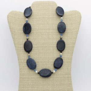 Shop Dumortierite Necklaces! Blue dumortierite, onyx, quartz & Bali silver beaded statement necklace | Natural genuine Dumortierite necklaces. Buy crystal jewelry, handmade handcrafted artisan jewelry for women.  Unique handmade gift ideas. #jewelry #beadednecklaces #beadedjewelry #gift #shopping #handmadejewelry #fashion #style #product #necklaces #affiliate #ad