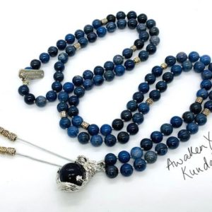 Blue Gem Stone Dumortierite Beaded Necklace Jewelry Quartz Crystal Gemstone Mala Necklace Dumortierite handmade long mens womens necklace | Natural genuine Gemstone necklaces. Buy handcrafted artisan men's jewelry, gifts for men.  Unique handmade mens fashion accessories. #jewelry #beadednecklaces #beadedjewelry #shopping #gift #handmadejewelry #necklaces #affiliate #ad