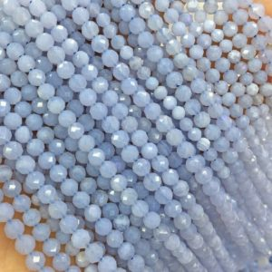 Shop Blue Lace Agate Faceted Beads! Faceted Blue Lace Agate Beads, Round Gemstone Beads, Wholesale Beads, Full Strand | Natural genuine faceted Blue Lace Agate beads for beading and jewelry making.  #jewelry #beads #beadedjewelry #diyjewelry #jewelrymaking #beadstore #beading #affiliate #ad