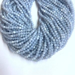 Shop Blue Lace Agate Beads! Tiny Chalcedony Blue Lace Agate Beads Smooth 2mm 3mm, Natural Light Blue Semi Precious Gemstone, Small Blue Spacers, Delicate Blue Beads | Natural genuine beads Blue Lace Agate beads for beading and jewelry making.  #jewelry #beads #beadedjewelry #diyjewelry #jewelrymaking #beadstore #beading #affiliate #ad