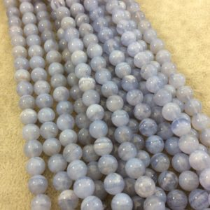 """Shop Blue Lace Agate Round Beads! 8mm Natural Glossy Banded Blue Lace Agate Round / ball Beads – Sold By 15.25"""" Strands (approx. 49 Beads) – Natural Semi-precious Gemstone   Natural genuine round Blue Lace Agate beads for beading and jewelry making.  #jewelry #beads #beadedjewelry #diyjewelry #jewelrymaking #beadstore #beading #affiliate #ad"""