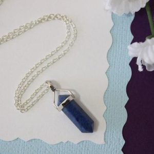 Shop Dumortierite Necklaces! Blue Spear Necklace, Gemstone Necklace, Thin Spear Pendant, Sterling Silver, Dumortierite Gemstone Pendant , Natural, Natural Stone, Clear | Natural genuine Dumortierite necklaces. Buy crystal jewelry, handmade handcrafted artisan jewelry for women.  Unique handmade gift ideas. #jewelry #beadednecklaces #beadedjewelry #gift #shopping #handmadejewelry #fashion #style #product #necklaces #affiliate #ad