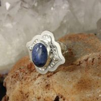 Boho Style Ring With Dumortierite In Size 8 – Healing Ring – Everyday Wear Ring – Handmade B0142 | Natural genuine Gemstone jewelry. Buy crystal jewelry, handmade handcrafted artisan jewelry for women.  Unique handmade gift ideas. #jewelry #beadedjewelry #beadedjewelry #gift #shopping #handmadejewelry #fashion #style #product #jewelry #affiliate #ad