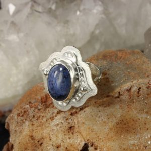 Shop Dumortierite Rings! Boho style ring with Dumortierite in size 8 – Healing ring – Everyday wear  ring – Handmade B0142 | Natural genuine Dumortierite rings, simple unique handcrafted gemstone rings. #rings #jewelry #shopping #gift #handmade #fashion #style #affiliate #ad