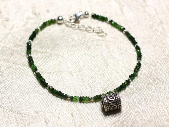 Bracelet 925 Sterling Silver And Stone - Tourmaline Green 3x2mm Faceted Rondelles