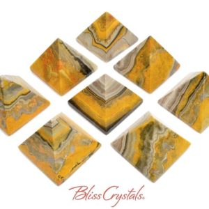 1 BUMBLEBEE JASPER Pyramid Yellow Orange Black Striped #BJ60 | Natural genuine stones & crystals in various shapes & sizes. Buy raw cut, tumbled, or polished gemstones for making jewelry or crystal healing energy vibration raising reiki stones. #crystals #gemstones #crystalhealing #crystalsandgemstones #energyhealing #affiliate #ad