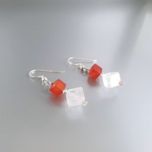 Shop Carnelian Earrings! Dangle earrings Carnelian and Rock Crystal with silver unique gift for her natural orange and clear gemstone modern design friend gift | Natural genuine Carnelian earrings. Buy crystal jewelry, handmade handcrafted artisan jewelry for women.  Unique handmade gift ideas. #jewelry #beadedearrings #beadedjewelry #gift #shopping #handmadejewelry #fashion #style #product #earrings #affiliate #ad