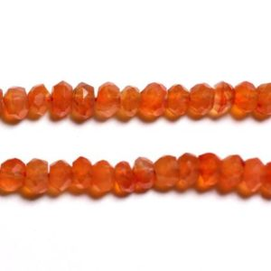 Shop Carnelian Faceted Beads! Wire 33cm 105pc env – stone beads – carnelian Rondelle faceted 3x2mm – 4558550090744 | Natural genuine faceted Carnelian beads for beading and jewelry making.  #jewelry #beads #beadedjewelry #diyjewelry #jewelrymaking #beadstore #beading #affiliate #ad